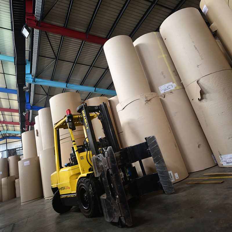 Clamp lift and paper rolls.
